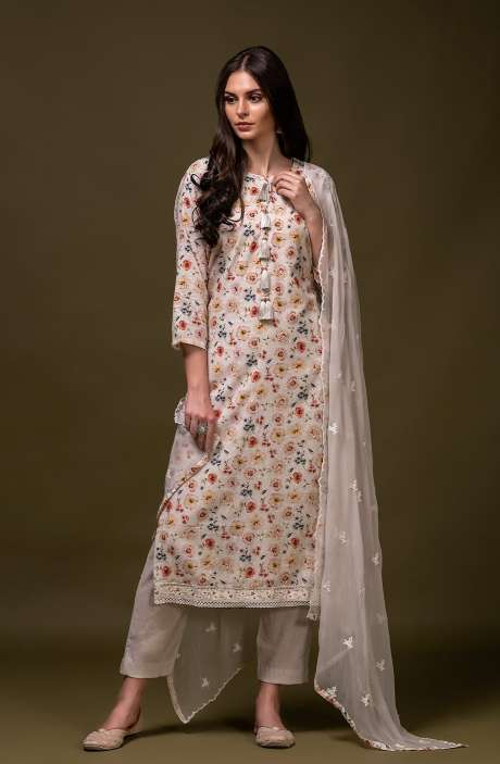 Tacfab Exclusive Pure Cotton Digital Floral Printed Salwar Suit Set In Cream & Multi - 245-K5001A