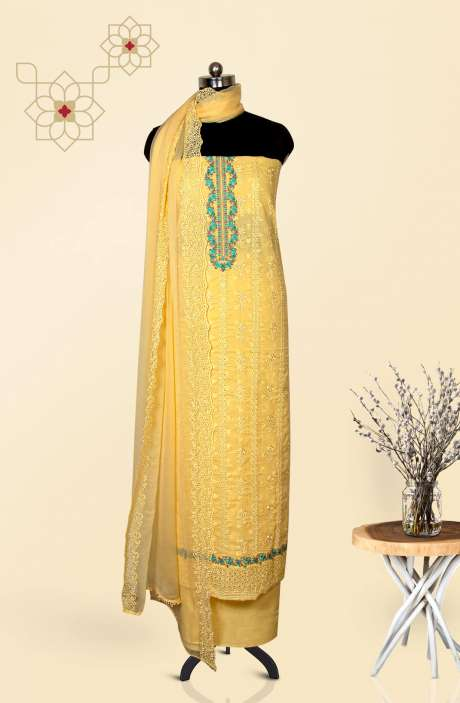 Cotton Jacquard Beautiful Embroidered Salwar Kameez In Yellow with Pure Chiffon Dupatta - 245-NS11477A