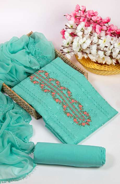 Cotton Jacquard Beautiful Embroidered Salwar Kameez In Sea Green with Pure Chiffon Dupatta - 245-NS11477C