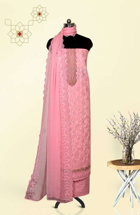 Cotton Jacquard Beautiful Embroidered Salwar Kameez In Baby Pink with Pure Chiffon Dupatta - 245-NS12411