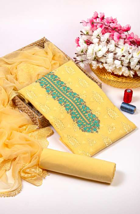 Cotton Jacquard Beautiful Embroidered Salwar Kameez In Yellow with Pure Chiffon Dupatta - 245-NS12411A