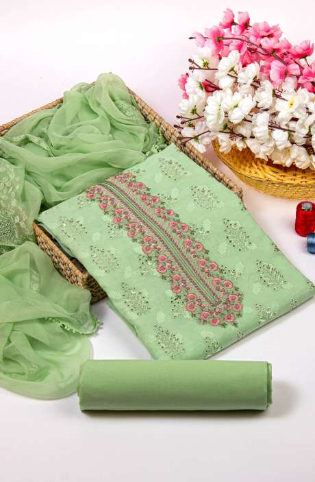 Cotton Jacquard Beautiful Embroidered Salwar Kameez In Parrot Green with Pure Chiffon Dupatta - 245-NS12411B
