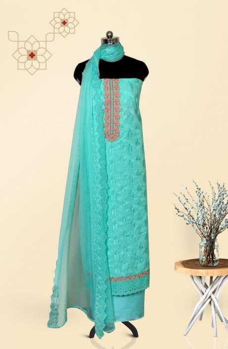 Cotton Jacquard Beautiful Embroidered Salwar Kameez In Sea Green with Pure Chiffon Dupatta - 245-NS12411C