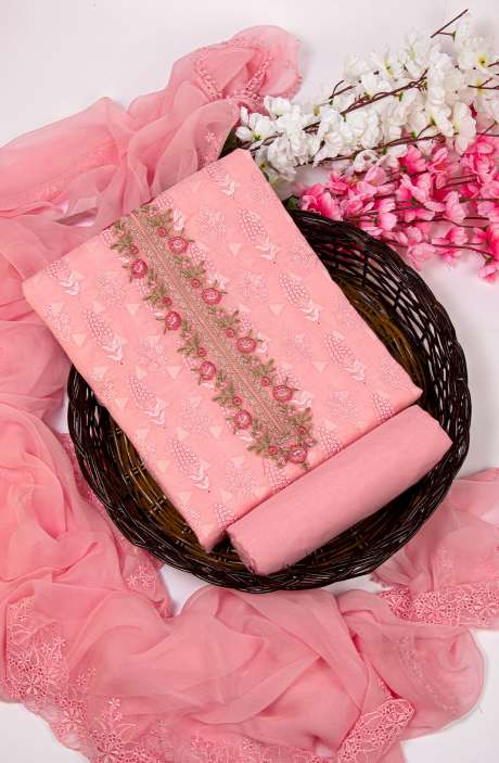 Cotton Jacquard Beautiful Embroidered Salwar Kameez In Baby Pink with Pure Chiffon Dupatta - 245-NS12412