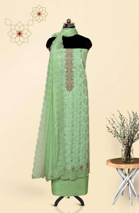 Cotton Jacquard Beautiful Embroidered Salwar Kameez In Parrot Green with Pure Chiffon Dupatta - 245-NS12412B
