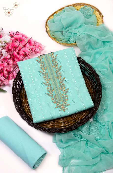 Cotton Jacquard Exclusive Embroidered Salwar Kameez In Sea Green with Pure Chiffon Dupatta - 245-NS12640B