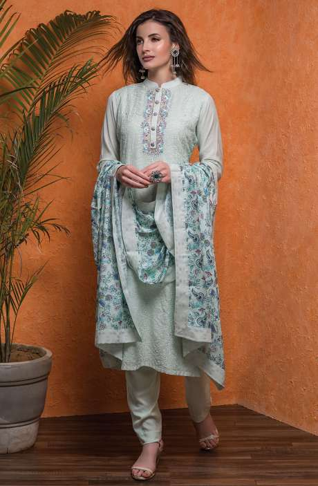 Semi-stitched Modal Cotton Exclusive Cut Work with Embellished Suit Sets In Light Green - 245-8076A