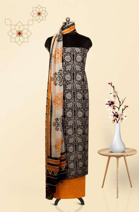 Cotton Printed Salwar Kameez In Black & White - 247-SC1076