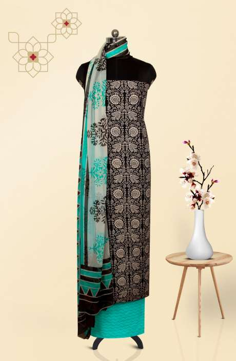 Cotton Printed Salwar Kameez In Black & Off-white - 247-SC1076C
