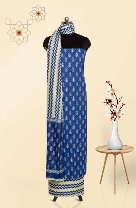 Cotton Printed Salwar Kameez In Blue - 247-SC1129C