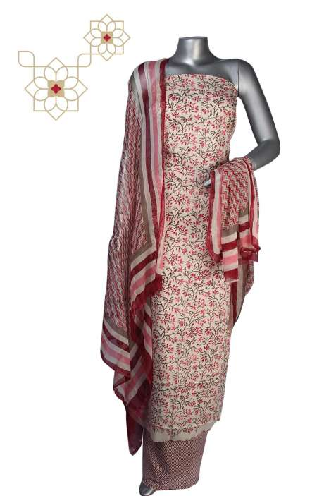 Cotton Floral Printed Unstitched Salwar Suit in Multi - 247-SC133A
