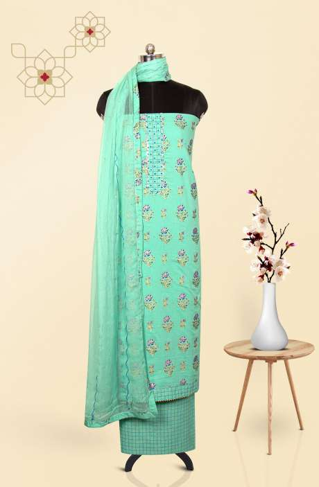 Cotton Printed Salwar Suit Dupatta In Sea Green - 247-SC1351