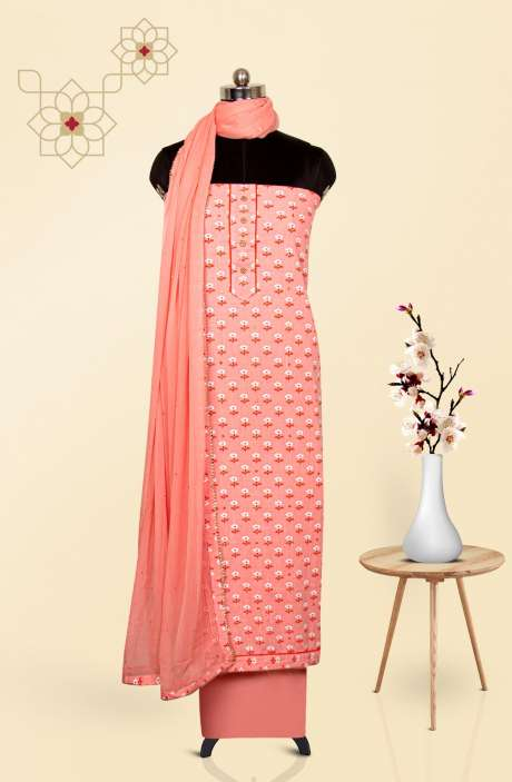 Cotton Printed Salwar Suit Dupatta In Pink - 247-SC1352