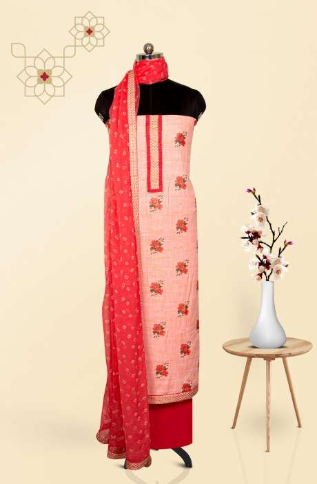 Cotton Printed Salwar Suit Dupatta In Peach & Coral - 247-SC1368