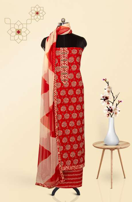 Cotton Printed Salwar Suit Dupatta In Red & Multi - 247-SC1399