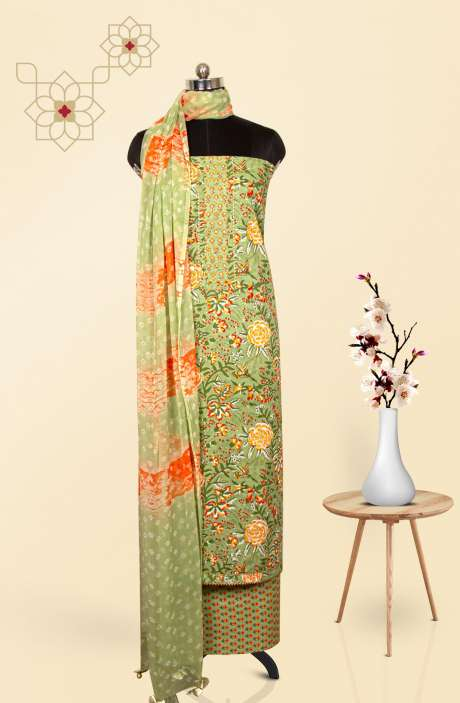 Cotton Printed Salwar Suit Dupatta In Green & Multi - 247-SC1404