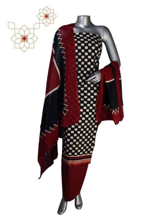 Cotton Printed Unstitched Suit Dress Material in Multi - 247-SC874AA
