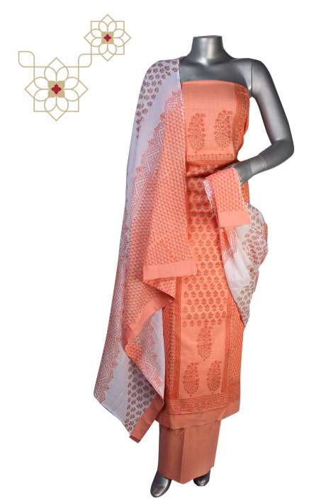 Handloom Cotton Floral Prints Unstitched Salwar Suit in Orange - 247-SH797D