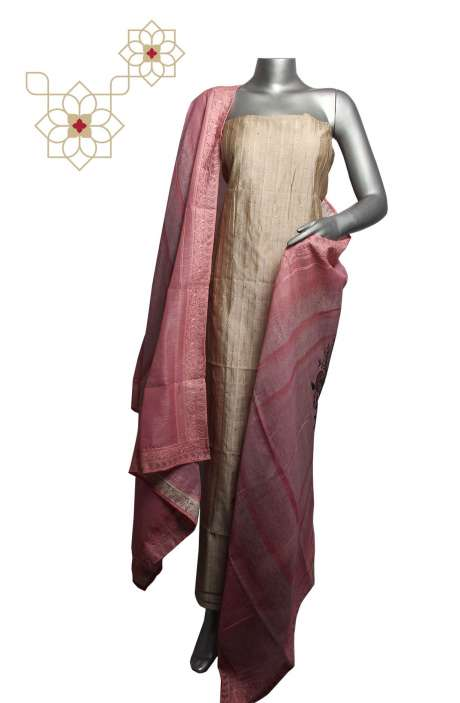 Chanderi Silk Embellished Beige Salwar Suit Sets - 293-SD50