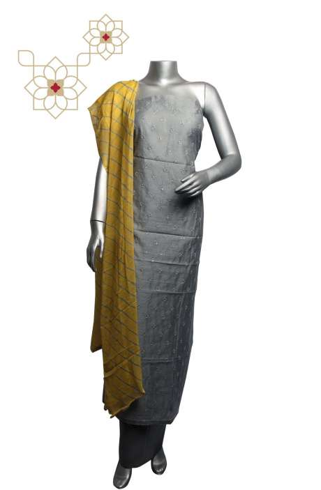 Chanderi Embroidered Salwar Suit Sets In Grey - 293-SD74