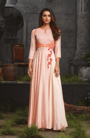 Party Wear Cream and Orange Stitched Rayon and Cotton Satin Printed Kurti - 4410