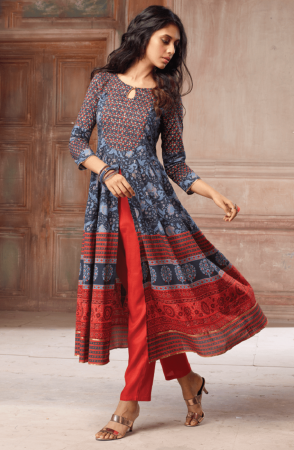 Trendy Blue Orange Stitched Printed Cotton Kurtis - 4530