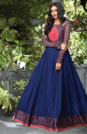 Ready to Wear Trendy Blue Cotton Printed with Embellished Kurti - 795-4652