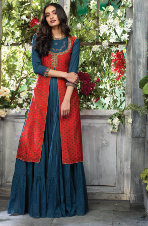 Ready to Wear Greyish Blue and Red Printed with Embellished Cotton Kurti - 795-4654