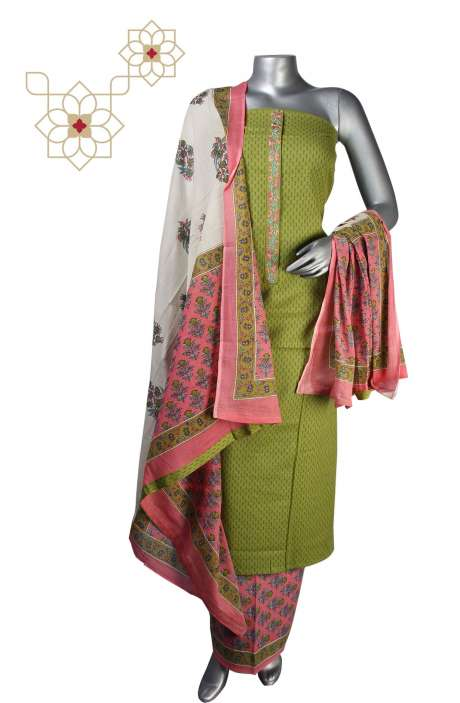 Handloom Cotton Salwar Suit in Mehndi & Pink - 657-A0200R