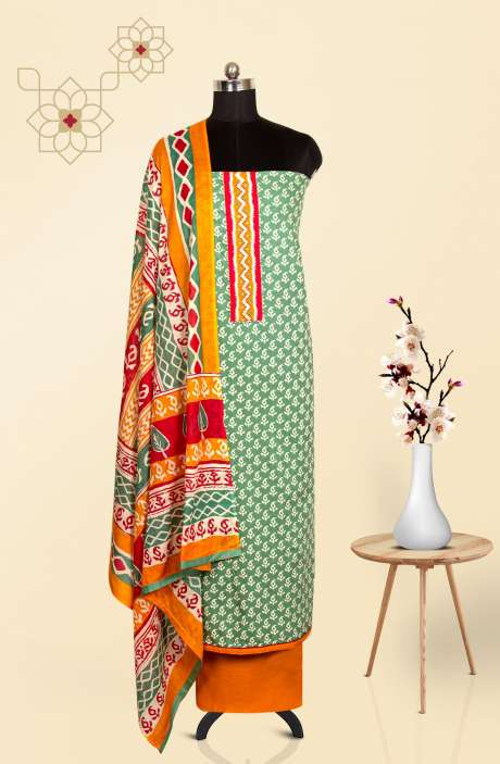 Cotton Printed Salwar Suit In Pastel Green - 657-B0201R