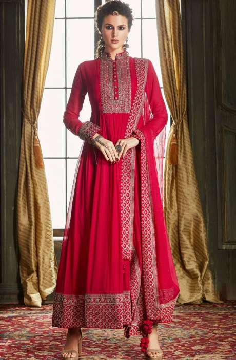 Designer Wedding Collection Readymade Georgette Gown In Pink - 662-VF9201