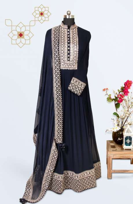 Designer Wedding Collection Readymade Georgette Gown In Blue - 662-VF9201A