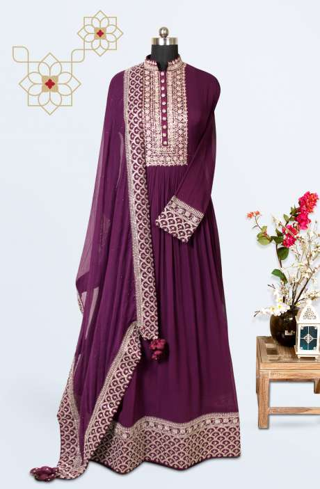 Designer Wedding Collection Readymade Georgette Gown In Purple - 662-VF9201C