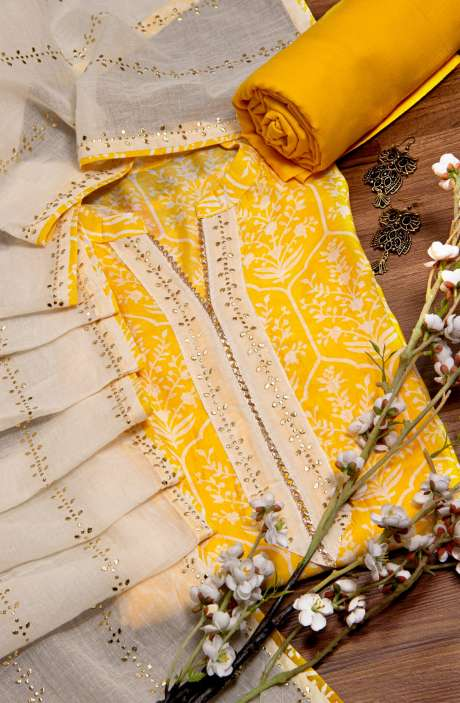 Beautiful Semi-stitched Chanderi Silk Salwar Suit In Yellow - 673-9304
