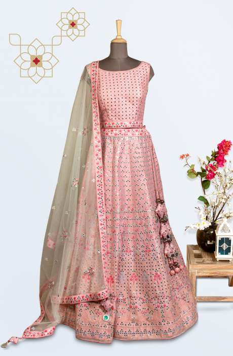 Peach Silk Thread & Patra Work Designer Lehenga with Choli - 675-6059