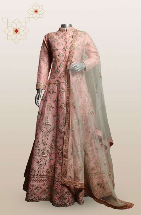 Peach Silk Ready-to-Wear Indo Western A-line Jacket Style Lehenga with Dupatta - 675-7052