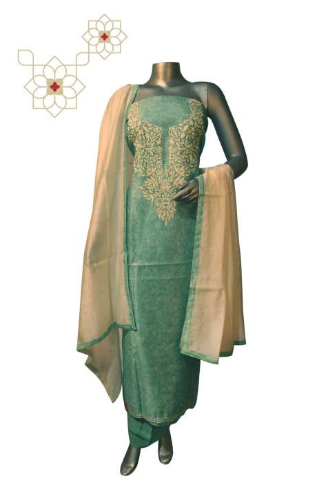 Designer Digital Print with Embroidery Work Chanderi Suit Sets in Green - 679-9309B