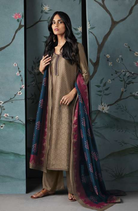 Wedding Wear Satin Silk Digital Print with Thread and Zari Embroidered Suit Sets In Brown | WOR6825