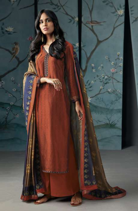 Wedding Wear Satin Silk Digital Print with Thread and Zari Embroidered Suit Sets In Rust | WOR6827