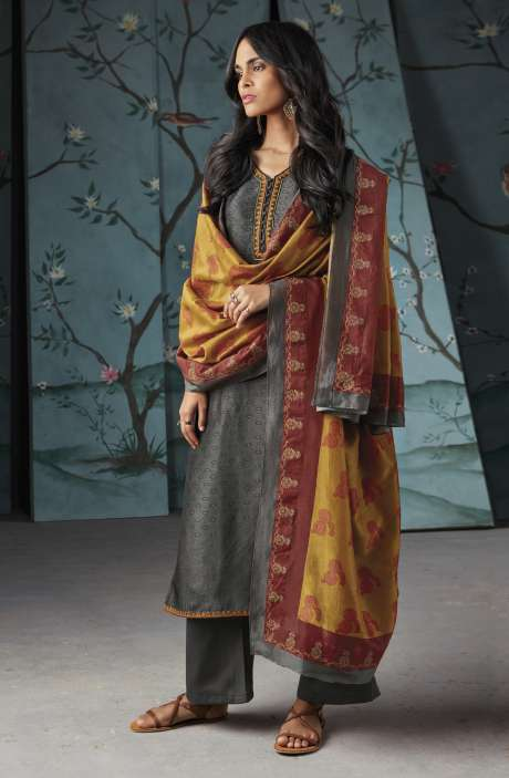 Wedding Wear Satin Silk Digital Print with Thread and Zari Embroidered Suit Sets In Grey   WOR6828
