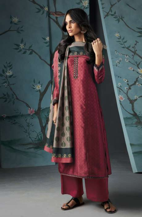 Wedding Wear Satin Silk Digital Print with Thread and Zari Embroidered Suit Sets In Pink | WOR6829