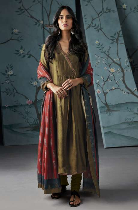 Wedding Wear Satin Silk Digital Print with Thread and Zari Embroidered Suit Sets In Mehndi Green | WOR6832