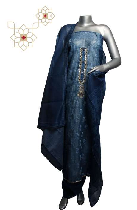 Chanderi Digital Printed with Embroidery Salwar Suit Sets In Blue & Grey - 691-6217