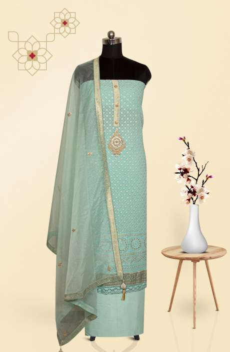 Sea Green Georgette Chikankari Embroidered Suit with Trendy Dupatta - 691-C7028A