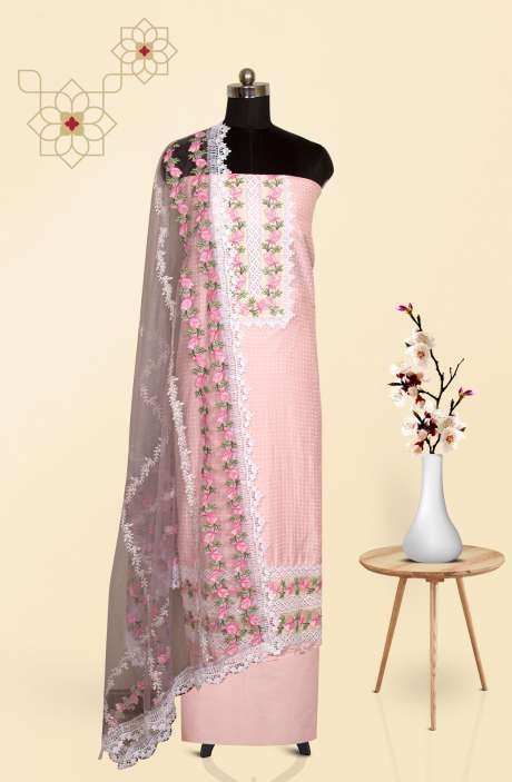 Cotton Beautiful Dot Printed Suit Set in Baby Pink with Trendy Dupatta - 691-C965
