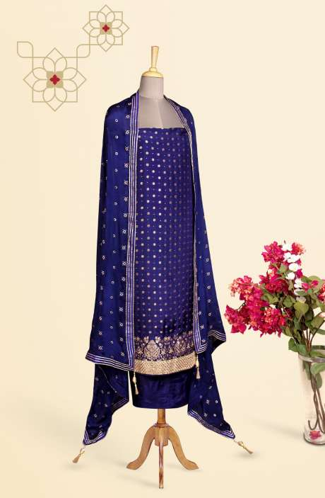 Designer Exclusive Unstitched Partywear Silk Salwar Kameez In Blue - 691-SDF2374C