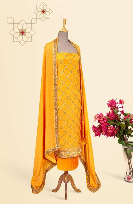 Designer Exclusive Unstitched Partywear Chinon Salwar Kameez In Mustard Yellow - 691-SDF2000H