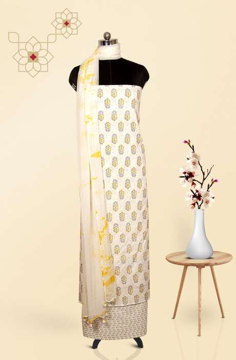 Cotton Digital Printed Salwar Suit Dupatta In Cream & Multi - 693-AA4164