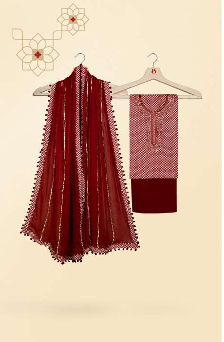 Beautiful Digital Printed Cotton Salwar Kameez In Beige & Maroon - 693-CP672