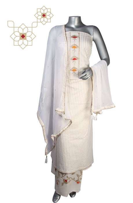 Cotton Beautiful Salwar Suit Sets in Cream - 693-JFJ1859